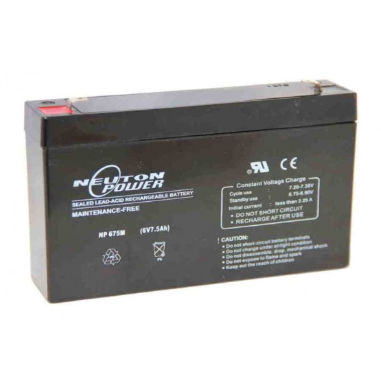 SEALED LEAD ACID BATTERY 6V 7.5Ah